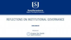 Don Dancer – Reflections on Institutional Governance